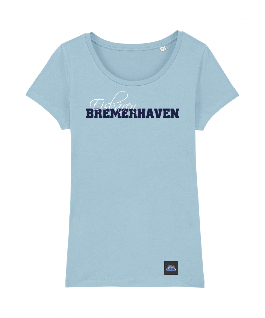 "T-Shirt ""Script"" Damen in hellblau"